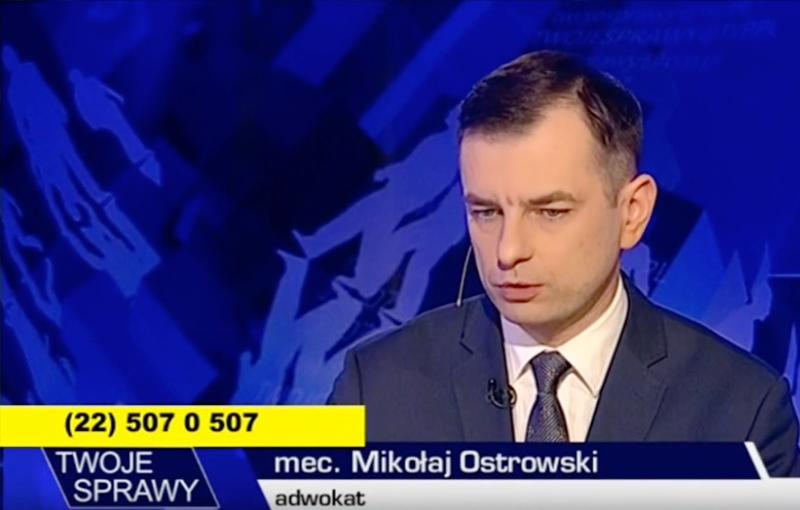 """Występ mecenasa Mikołaja Ostrowskiego w programie """"Twoje sprawy"""""""